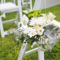 Our ceremony flowers put together by one of my sisters.